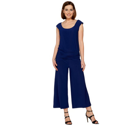 Attitudes by Renee Petite Choice of Solid or Printed Gaucho Jumpsuit