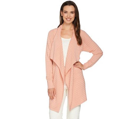 C. Wonder Long Sleeve Drape Front Pointelle Cardigan