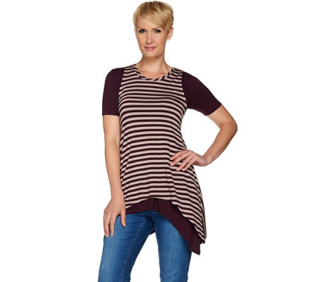 LOGO by Lori Goldstein Striped Tank and Solid Knit Top Twin Set