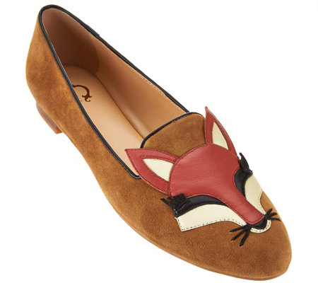 C. Wonder Fox Embroidered Suede Loafers - Carlotta