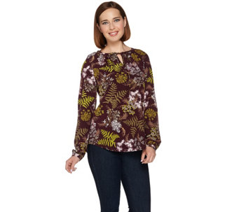 Denim & Co. Split Neck Botanical Printed Peasant Tie Blouse - A280668