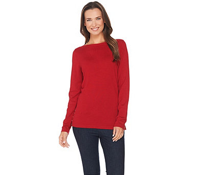 Susan Graver Rayon Nylon Bateau Neck Sweater with Button Trim - A281168