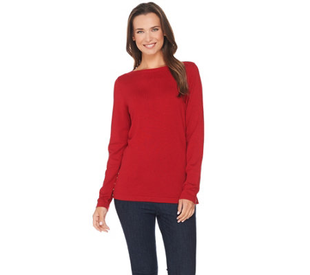 Susan Graver Rayon Nylon Bateau Neck Sweater with Button Trim