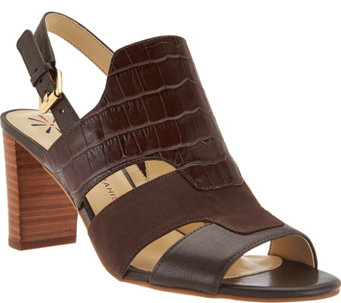 Isaac Mizrahi Live! Leather Sandals with Heel - A281768