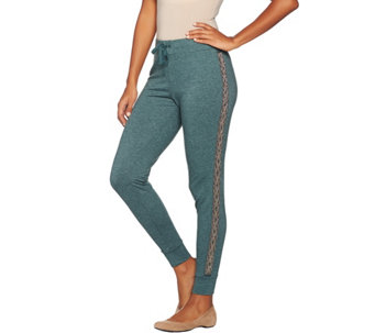 LOGO Lavish by Lori Goldstein French Terry Joggers with Beaded Stripe - A282168