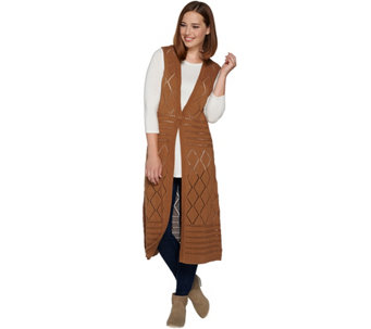 Denim & Co. Sleeveless Open Front Crochet Vest Duster with Button - A282368