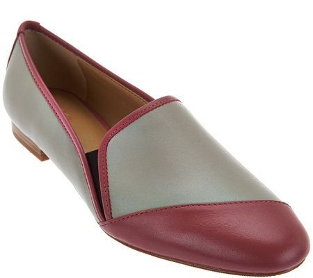 """As Is"" LOGO by Lori Goldstein Asymmetric Color Block Flats"