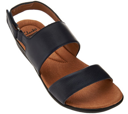 """As Is"" Clarks Leather Double Strap Adj. Sandals - Manilla Penna"