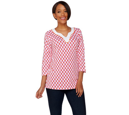 """As Is"" Susan Graver Weekend Printed Cotton Modal Split Neck Top"