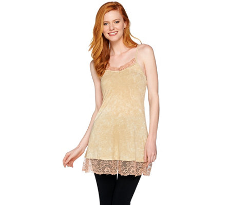 LOGO Layers by Lori Goldstein Distressed Print Knit Cami with Lace Trim