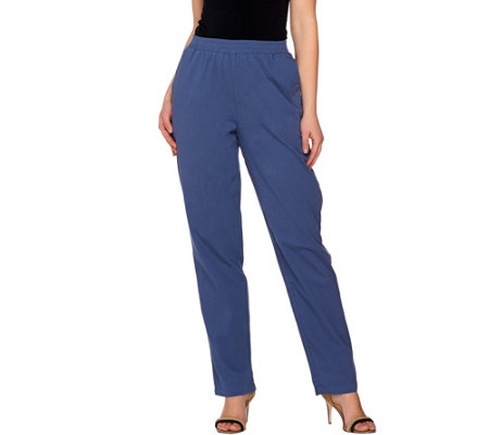 """As Is"" Denim & Co. Petite Pull-on Gauze Pants with Pockets"