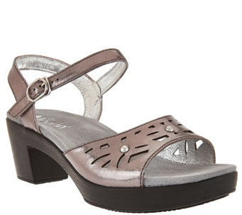 """As Is"" Alegria Leather Sandals w/ Perforations & Ankle Strap - A286368"