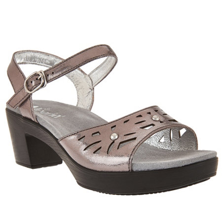 """As Is"" Alegria Leather Sandals w/ Perforations & Ankle Strap"