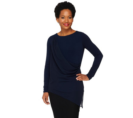 """As Is"" George Simonton Crystal Knit Top with Chiffon Overlay"