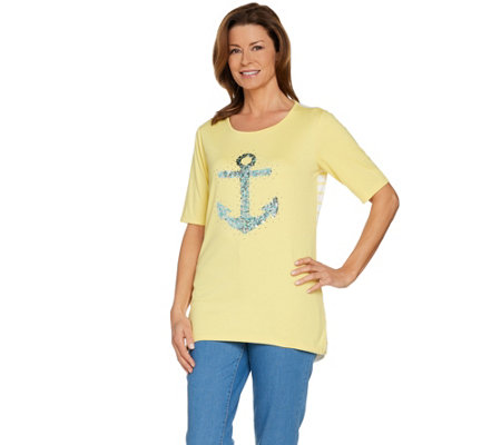 Quacker Factory Sequin Anchor Elbow Sleeve Knit Top with Striped Back