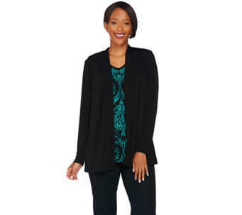 """As Is"" Susan Graver Liquid Knit Long Sleeve Printed Cardigan Set - A289568"