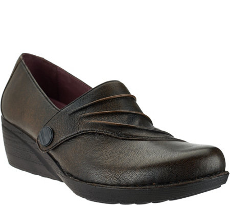 """As Is"" Dansko Leather Wedge Slip-ons with Ruched Detail - Aimee"