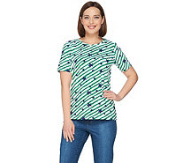 Denim & Co Stars & Stripes Print Short Sleeve Round Neck Top - A290268