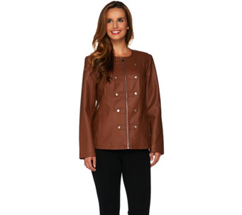 """As Is"" Dennis Basso Faux Leather Military Zip Front Jacket - A291468"