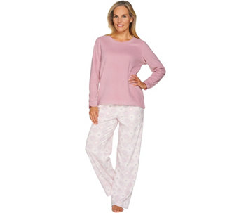 """As Is"" Stan Herman Petite Micro Fleece Novelty Pajama Set - A292868"