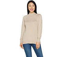 H by Halston Mock Neck Pullover Sweater with Rib Detail - A295068