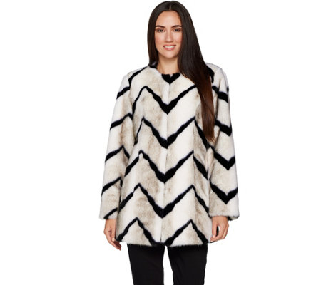 Dennis Basso Platinum Collection Chevron Faux Fur Coat