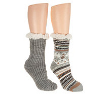 MUK LUKS Jojoba Infused Cabin Socks with Faux Fur Set of Two - A298068