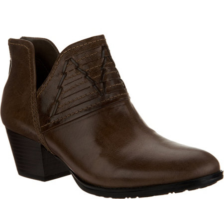 Earth Leather Block Heel Booties - Merlin
