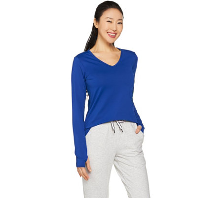 """As Is"" cee bee CHERYL BURKE V-Neck Long Sleeve Hi-Low Top"