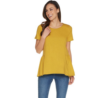 LOGO by Lori Goldstein Washed Cotton Knit Top w/ Seam Details