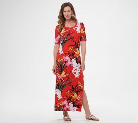 G.I.L.I. Regular Short-Sleeve Side Slit Maxi Dress