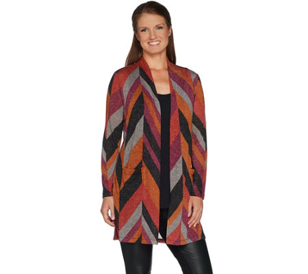 """As Is"" Susan Graver Chevron Lurex Knit Duster"