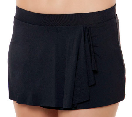 Simply Sole Solid Draped Skirted Panty Swim Skirt