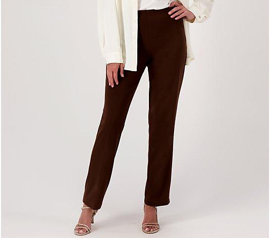 Susan Graver Milano Knit Pull on Slim Leg Ankle Pants Petite Size S Sapphire