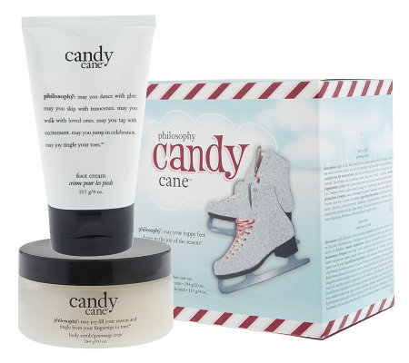 philosophy candy cane treats for feet salt scrub & foot cream duo