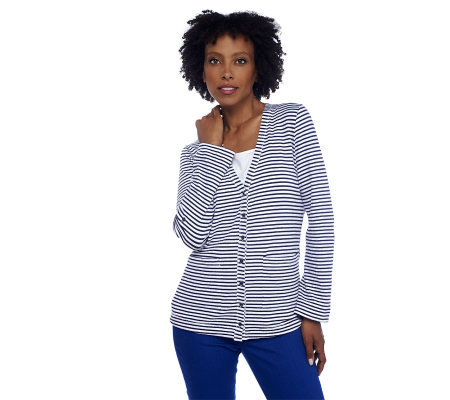 Isaac Mizrahi Live! Cardigan with Roll Tab Sleeves