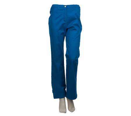 Bob Mackie's Regular Fly Front Straight Leg Twill Pants