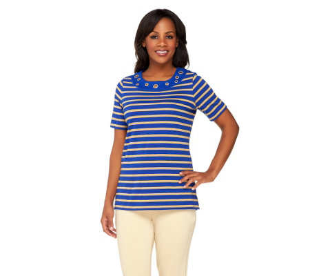 Quacker Factory Grommet Lurex Stripe Short Sleeve T-Shirt