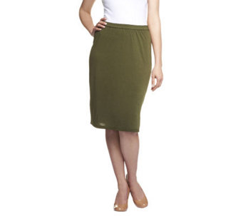 Linea by Louis Dell'Olio Feather Jersey Pull-on Skirt w/ Side Slit - A233969