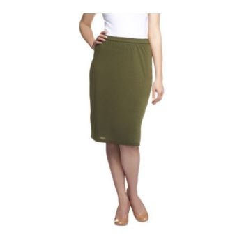 Linea by Louis Dell'Olio Feather Jersey Pull-on Skirt w/ Side Slit