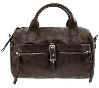 """As Is"" B. Makowsky Leather Zip Top Convertible Satchel - A236169"