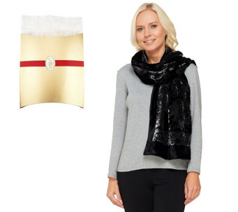 Susan Graver Burnout Velvet Printed Scarf with Gift Box - A238669