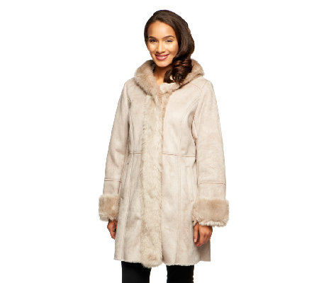 Dennis Basso Hooded Tuxedo Front Faux Shearling Coat w/Faux Fur ...