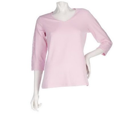 """As Is"" Susan Graver Butter knit V-neck Top w/ Lace Sleeve Detail"