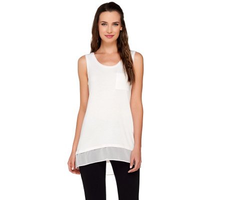 LOGO by Lori Goldstein Knit Tank with Chiffon Trim & Hi-Low Hem