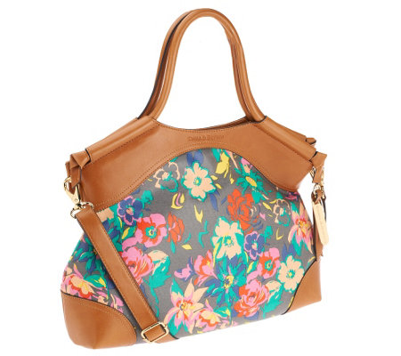 Emma and Sophia Floral Printed Canvas Dakota Shopper with Tan Trim