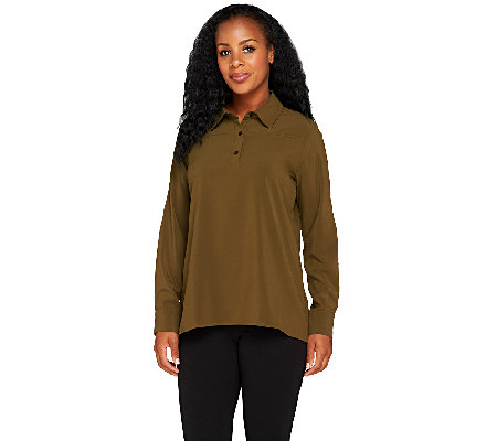 Attitudes by Renee Long Sleeve Blouse with Peplum Back