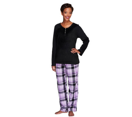 Carole Hochman Petite Pajama Set with Fleece Top & Flannel Pants