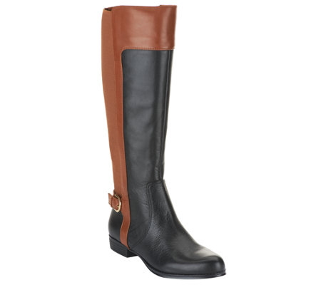 Isaac Mizrahi Live! Leather Riding Boots Wide Calf