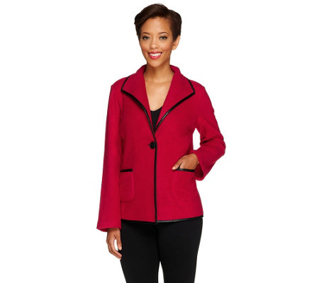Susan Graver Polar Fleece Jacket with Faux Leather Trim